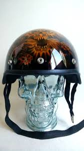 vtg custom airbrushed skull motorcycle helmet brain bucket black