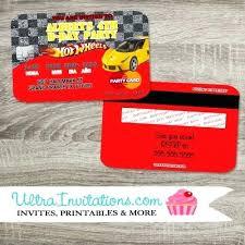 Credit Card Party Invitations Hot Wheels Birthday Invitations As Well As Hot Wheels Cars Credit