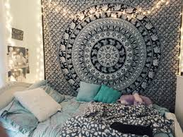 black and white indian elephant mandala tapestry wall hanging hippie bedspread