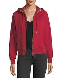 Burberry Women's Clothing at Neiman Marcus & Check-Lined Hooded Jacket Adamdwight.com