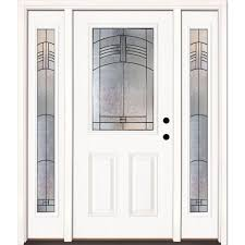 feather river doors 67 5 in x 81 625 in rochester patina 1 2 lite unfinished smooth left hand fiberglass prehung front door with sidelites 873190 3b4
