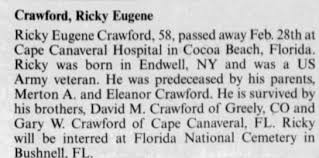 Obituary for Ricky Eugene Crawford (Aged 58) - Newspapers.com