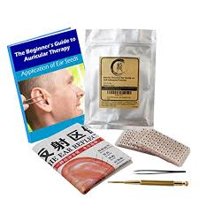 Multi Condition Ear Seed Acupressure Kit 600 Counts Ebook Placement Chart Probe Acupuncture Ear Chart Tweezers