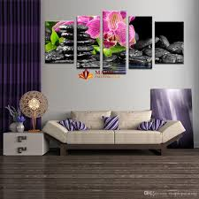 hot wall art sets wall painting flower botanical green feng shui orchid decorative pictures for bedroom large canvas art by
