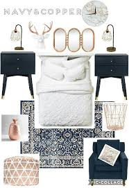 Beautiful | trendy | copper | gold rose | chic bedroom | blue navy | pops