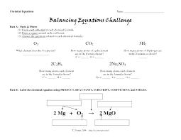 worksheet math skills balancing chemical equations answer key chemistry
