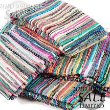fair trade handmade indian chindi rag rugs hand woven mat large small striped