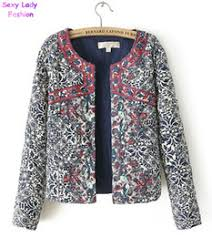 Quilted Ladies Jackets Online | Quilted Ladies Jackets for Sale & Wholesale- Hot Sale Women's Red Embroidery Contrast Floral Print Paisley Jacket  Ladies O neck Long sleeve Quilted Thin Padded Coats Suits Adamdwight.com