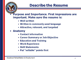 Describe the Resume Purpose and Importance. First impressions are important.  Make sure the resume