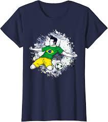 Uomo Abbigliamento adelstitel-kaufen.com Brasile calcio bandiera brasiliana  amante del calcio Maglietta