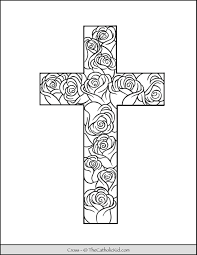 Free printable coloring pages of rose. Cross Coloring Page Stained Glass Pattern Thecatholickid Com