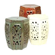 ceramic garden stool beige awesome design ideas stools simple decoration hexagon red