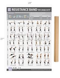 Fitness Program Chart Resistance Band Tube Exercise Poster Now Laminated Total