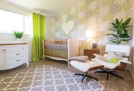 Image Crib Bedding Green And White Nursery Design With Modern Floral Wallpaper And Midcentury Furniture Project Nursery The Psychology Of The Color Green In The Nursery Project Nursery