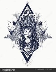 Indiánské ženy Tetování Umění Holka Etnické Válečník Mladá žena
