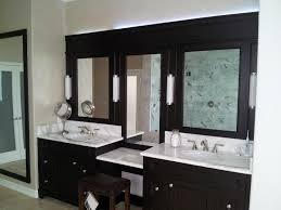 Decorating Bathroom Mirrors Double L Shaped Brown Finish Mahogany Cabinet Unframed Oval