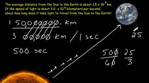 Light To Earth From Sun Speed Scientific Notation Problem Solving