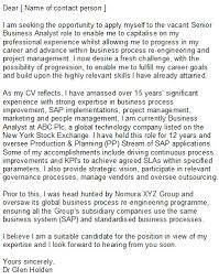System Analyst Cover Letter Cover Letter For Senior Business Analyst Business Analyst