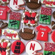 Football Cookie Cake Designs Husker Cookies Nebraska Cookies Football Cookies Go Big