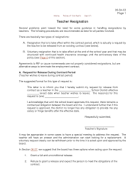 request release contract period letter of resignation teacher sample school district effective terminate employment