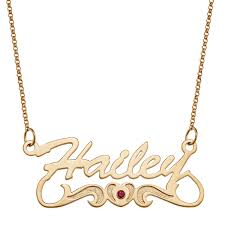 simulated birthstone with heart and scroll name necklace in sterling silver with 18k gold plate 1 stone and name