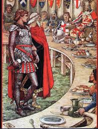 vintage ilration of merlin and king arthur at the knight s round table