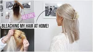 bleaching my hair brown to blonde using