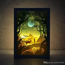creative birthday gift paper silhouette three dimensional lighting lamp diy handmade decorative table lamp frame nightlight led bulb led headlights from