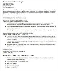 Construction Worker Resume Impressive Construction Worker Resume Sample New Construction Worker Resume