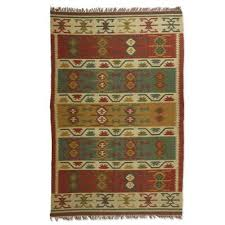 hand woven jute and wool blend dhurrie rug 6x9 lovely patterns