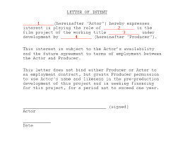 Letter To Intent Sample Sample Actor Letter Of Intent Movie Producing Film School