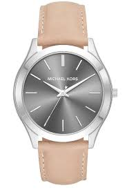 details about michael kors mk8619 slim runway mens watch tan leather band new
