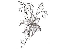 Lion And Lily Flowers Tattoo Sketch 1 Tattoozza