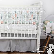 bedding cribs shabby chic furniture home design interior rail guard cover glenna jean bird teal reversible