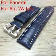 handmade 22mm 24mm 26mm blue leather strap watchbands mens rough strap for pam with original logo free shiping extra long watch bands invicta watch band