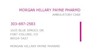 1629597273 NPI Number | MORGAN HILLARY PAYNE PHARMD | FORT COLLINS, CO |  NPI Registry | Medical Coding Library | www.HIPAASpace.com © 2020