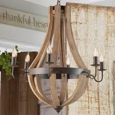 wooden wine barrel stave chandelier shades of light vineyard 6 light metal and wood