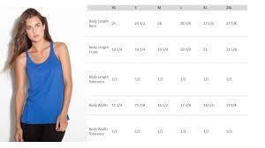 Bella Ladies Size Chart Bella Tank Tops Size Chart Rldm