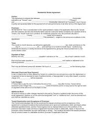 Residential Lease Contract Apartment Rental Contract Said Apartment