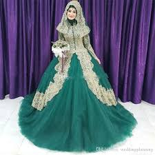 2018 muslim green and gold lace ball gown islam wedding dresses