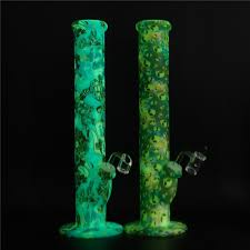 glow in dark silicone smoking pipe smoking pipe with thick glass bowl for oil rig