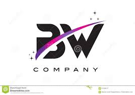 Bw Design Bw B W Black Letter Logo Design With Purple Magenta Swoosh