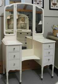 Makeup Vanities For Bedrooms Furniture Old And Vintage Wooden Makeup Vanity Table With 3 Fold