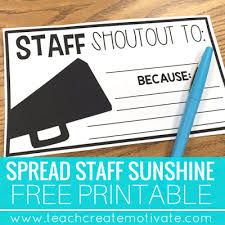 Staff Shout Outs: Spread School Sunshine! - Teach Create Motivate
