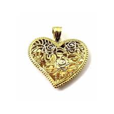 14k two tone gold heart shaped pendant with flowers