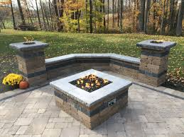 paver patio with gas fire pit. Natural Gas Outdoor Fire Pit Awesome Paver Patio With Two Columns And Sitting Wall Perfect For Fall E
