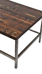 1940u0027s Repurposed American Industrial Brushed Steel Coffee Table With Newly  Added Pine Wood Plank Top