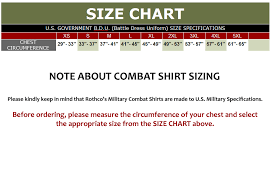 Military Size Chart Military Combat Shirt Woodland Camo