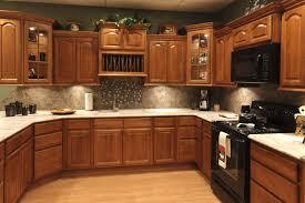 dark oak kitchen cabinets. Pretty Dark Oak Kitchen Cabinets Cool U Shape Decoration Using Grey Mosaic Tile Backsplash Including White Granite With Black Hardware New H