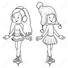 スケートの上の 2 つのかわいい女の子クリップ アート イラスト塗り絵